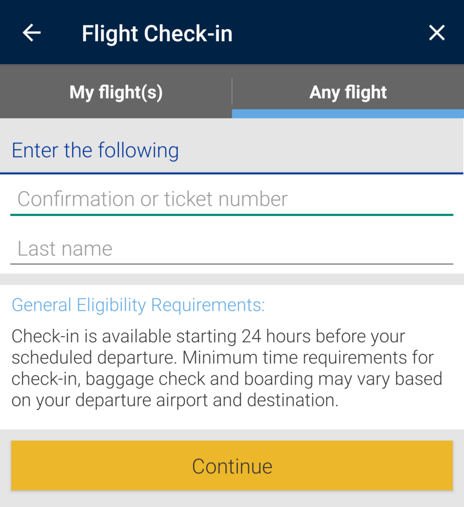 United Airlines online check in