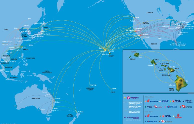 hawaiian airlines destinations map,